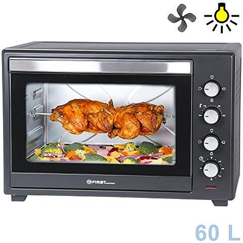 Mini four | 60 litres | 2000 watts | avec plaque anti-miettes | broche | fonction chaleur tournante | peut accueillir 2 pizzas sur la même grille | four à pizza | TZS First