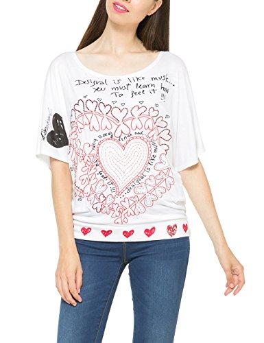 Desigual Lalia - T-shirt - Imprimé - Manches courtes - Femme Blanc (Blanco)