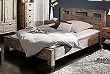 MASSIVMOEBEL24.DE Palisander Massivholz Bett 180x200 Sheesham Holz Möbel Nature Grey #202