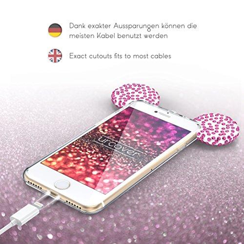 Urcover® Apple iPhone 7 Plus / 8 Plus Maus Ohren Handy Schutz-Hülle | TPU / Silikonhülle Bling Ear Cover Silber | Crystal Case | Bär Glitzer Girl Diamant Strass Schale Pink