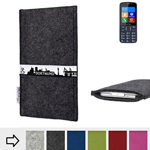 flat.design für bea-fon SL820 Schutzhülle Handy Tasche Skyline mit Webband Dortmund - Maßanfertigung der Schutztasche Handy Hülle aus 100% Wollfilz (anthrazit) für bea-fon SL820