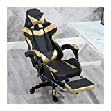 QWERTY Sedia da Gioco Ergonomica, Sedia Gaming, Girevole Ergonomica Lussuosa con Cuscini (Color : Black Gold, Size : with footrest)