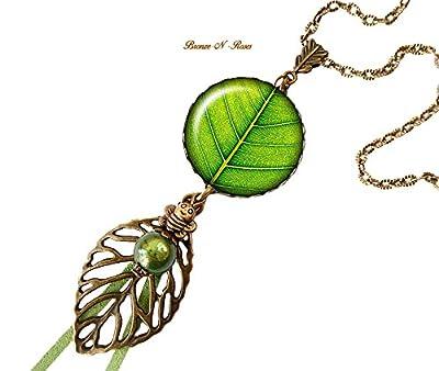 Sautoir collier * feuille * vert arbre nature cabochons verre zen