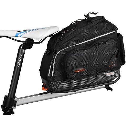 Ibera USA Bicicleta, Alforja Bolsa Bolso bicicleta + Parrilla trasera, montaje por tubo del sillín, alforjas bicicleta, sistema de liberación