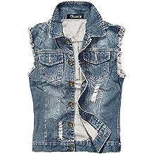 Zicac Herren Weste Slim Fit Beiläufige Cowboy Weste im Modern Design Jeansweste