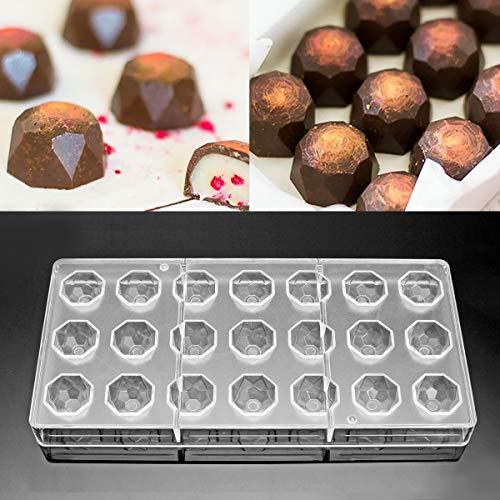 Jeteven® 3D Schokoladenform Pralinenform Backform Backzubehör aus Polycarbonat (PC) Transparent, für die Herstellung von Schokolade Süßigkeiten Eis, BPA-frei, FDA und SGS geprüft (Diamant (21 Stücke)) (Polycarbonat-schokoladenformen)