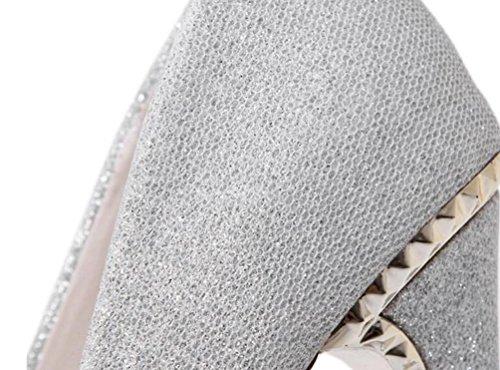 Nozze OL Pompe Piattaforma 5 cm Stiletto Chunky 14 cm Scarpe eleganti casual indossabili a punta a tacco UE 34-39 Black