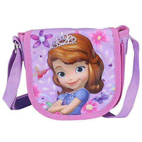 Borsa tracolla bambina sofia la principessa - pratica borsetta messenger con patella frontale - tracollina regolabile da viaggio e tempo libero - rosa e viola - 17x16x4cm - perletti
