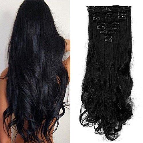 Haar Verlängerung Perücke (43,2cm 58,4cm voller Kopf Clip-in Hair Extensions Gerades, lockiges, welliges Haar Verlängerung 8-teilig, 18 Clips)