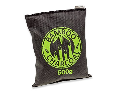 Natürlicher Bambus Lufterfrischer mit Aktivkohle – KochWunder Wunderkissen – Luftreiniger für Wohnzimmer, Küche, Schlafzimmer, Bad & WC, Auto uvm. - Schadstofffrei und 100% biologisch abbaubar - 500g - schwarz