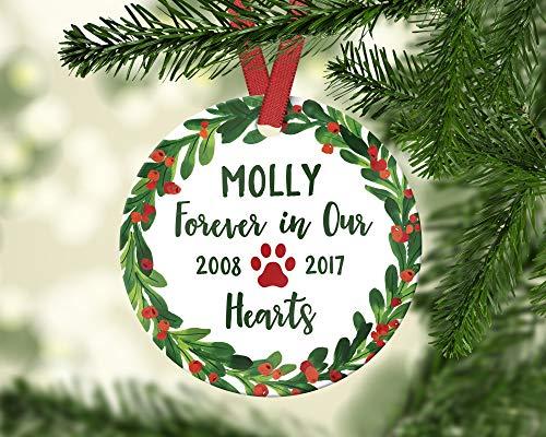 Dozili Gedenkstein für Haustiere, Gedenk, Geschenk für Haustiere, Verlustgeschenke für Hunde, Gedenkideen, Hundeverlust, Ornament, Rot/Grün
