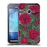 Head Case Designs Rote Variante Rosen Und Wildblumen Soft Gel Hülle für Samsung Galaxy Xcover 3