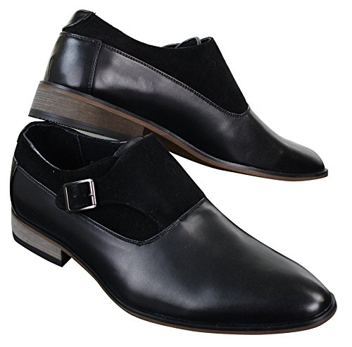 Chaussures homme à enfiler cuir et daim PU avec boucle style italien chic décontracté Noir