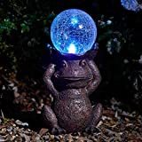Garden Mile® Dekorative Solarbetriebene Gartenfigur Frosch mit LED Craquelé-Kugel mit Farbwechsel-LED-Beleuchtung Timer für Garten Terrasse Rasen Wege Bordüre Gartendeko