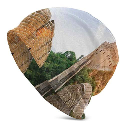Top Level Beanie Men Women - Legendary Dynasty Monument On Cliffs Historical Countryside Art Design - Unisex Cuffed Plain Skull Knit Hat Cap