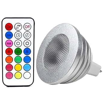HF @ 12couleurs, fonction mémoire, ampoule LED MR164W RVB) à consommation réduite + télécommande Lumière claire