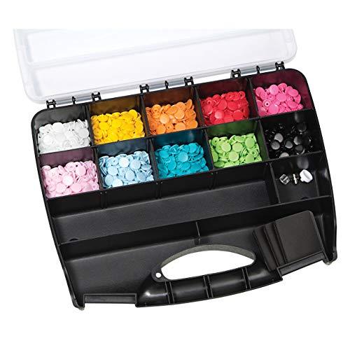 Prym 393900 Nähfrei Color Snaps Sortimentsbox inkl. 300 Druckknöpfe Ø 12,4 mm & Werkzeug-Set -
