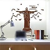 GOUZI Europäische und amerikanische Persönlichkeit kreative Christen Jesus Christus Statue, Dunkelbraun Wall Sticker abnehmbare Wall Sticker für Schlafzimmer Wohnzimmer Hintergrund Wand Bad Studie Friseur