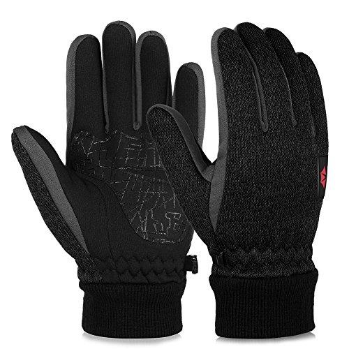 Vbiger Touchscreen Handschuhe Fleece Handschuhe Winterhandschuhe Warme Handschuhe Sporthandschuhe, Dunkelschwarz, XL