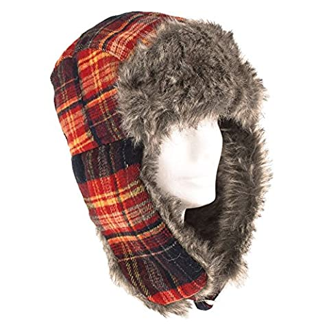 Mens Women/Ladies Unisex Winter Russian Trapper/Aviator Hat Tartan/Check With Ear Flap 2 Strap Slider Fastener - Red