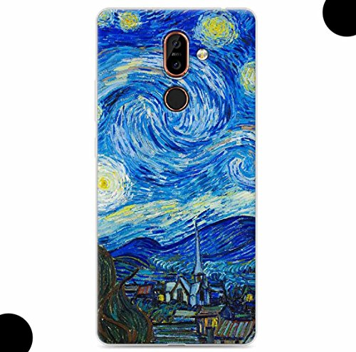 WEIFA 2017 New Nokia105 Soft Case, Very Light Slim Artist Special Van Gogh Starry Night Picture Style, 2018 Newest Thin Anti-Scratch Cellphone Cover Case for 2017 Nokia 105