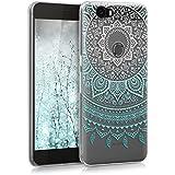 kwmobile Funda para Huawei Google Nexus 6P - forro de TPU silicona cover protector para móvil - Case Diseño Sol hindú menta blanco transparente