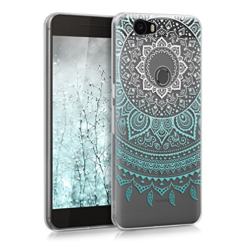 kwmobile Huawei Google Nexus 6P Hülle - Handyhülle für Huawei Google Nexus 6P - Handy Case in Mintgrün Weiß Transparent