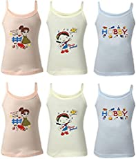 Careplus Pigment Printed Multi Color Camisole Top for Girl's ( Pack of 6 )