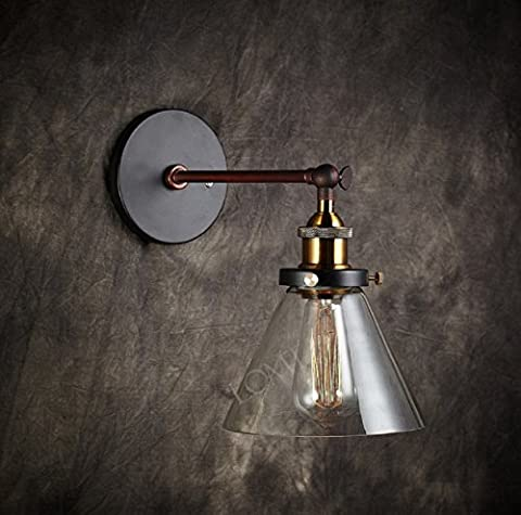 2016 NEW Modern Vintage Industrial Metal Glass Rustic Bronze Sconce Wall Lamp Loft Wall Light