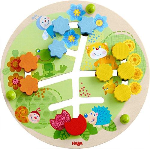 HABA 303852 - Motorikbrett Blumen | Holzspielzeug ab 12 Monaten | Lustiger Schiebespaß mit buntem Blumenwiesenmotiv | Rückseite mit Zahlenspiel