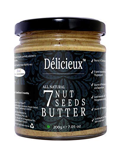 9. Délicieux Stone Ground Keto Vegan All Natural Gourmet 7 Nut and Seeds Butter