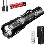 Klarus XT11UV Taktische Taschenlampe mit weißem Licht & UV-Licht, EDC-Taschenlampe CREE XP-L HI V3 LED, 900 Lumen, kompakt, wiederaufladbar per USB mit 18650 Akku und BanTac USB-Licht