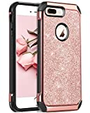 BENTOBEN Coque iPhone 8 Plus, Etui iPhone 8 Plus, Housse Etui iPhone 8 Plus Glitter Brillante Résistante Ultra Mince Antichoc 2 en 1 Hybride PC Durable + TPU pour iPhone 8 Plus [5.5 Pouces], Or Rose