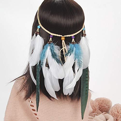 Amorar Böhmischer Kopfschmuck Haarband Stirnband Feder Haarschmuck Indianer Frauen Haarbänder Headwear Haarschmuck für Abendkleider Halloween (Kostüm Der Indischen Stämme)