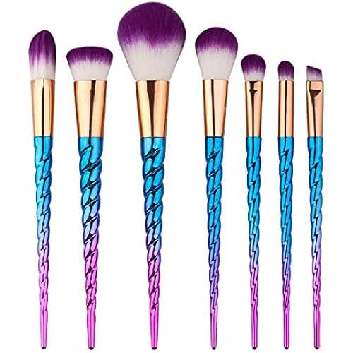 maquillaje unicornio kawaii King Love Star Pinceles de maquillaje 7 piezas Manija de color plateado Unicornio Maquillaje cepillos Cosmético Fundación Ojo Cara Sonrojo Cepillos