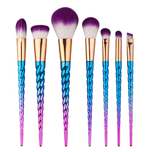 e29c17aa8 King Love Star Pinceles de maquillaje 7 piezas Manija de color plateado.