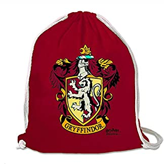 51Oodo7tTXL. SS324  - LOGOSHIRT - Harry Potter - Gryffindor - Logo - Mochila Saco - Bolsa - Rojo - Diseño Original con Licencia