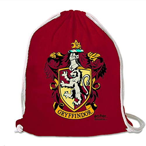 LOGOSHIRT - Harry Potter - Gryffindor - Logo - Mochila Saco - Bolsa - Rojo - Diseño Original con Licencia...