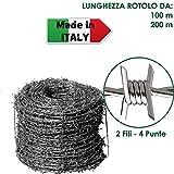 ROTOLO FILO ZINCATO SPINATO 2 FILI 4 PUNTE 1,8 mm RECINTO ANIMALI SELVATICI (100 m)