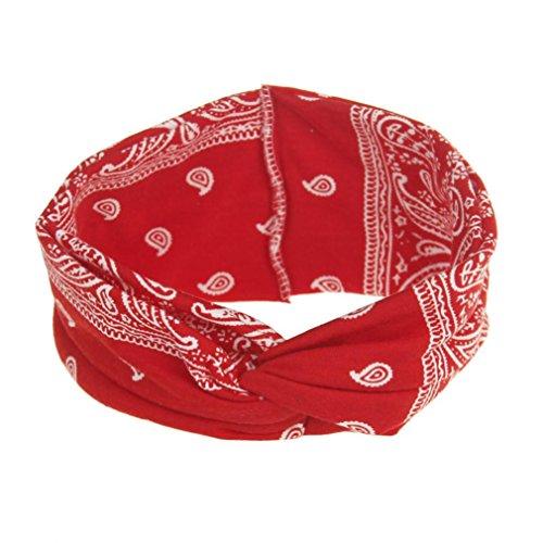 VENMO Frauen Yoga Sport Elastic Floral Haarband Stirnband Turban verdreht verknotet Elastische Blume Gedruckt Stirnbänder Baumwolle Gestrickte Verdrehte Weiche Turban-Kopf-Verpackungs (Red)