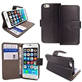 Gr8 value Apple iPhone 6 6S 6G Luxury PU Leather Wallet Cover Flip book Phone Mobile case PU Leather Flip Case Cover (iPhone 6 6S 6G black bk)