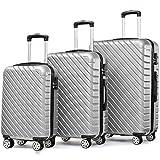 Flieks Hartschale Trolley Koffer Reisekoffer Zwillingsrollen Reisekoffer mit Zahlenschloss Handgepäck mit 4 Doppel-Rollen, XL-L-M (Silber, Set)
