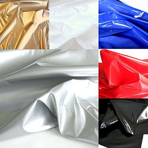 Latex-stoff-kleber (TOLKO® Lackleder mit Latex-Glanz für Kleid Rock Dessous weiche elastische Meterware in Silber)