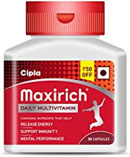 Cipla Maxirich Daily Multivitamin Capsules with Essential Nutrients,Antioxidants,Vitamin A, E and C for buildi