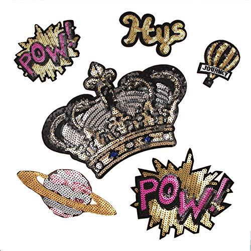 9 Stück Fashion Love Heart Star Crown Patch Applikation Pailletten Leopard Print Stripe Patches Aufnäher Aufbügler Stickerei Aufbügler DIY Nähen Kleidung Jacke style 2 Leopard-print-poncho