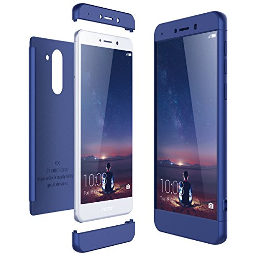 CE-Link Funda para Huawei Honor 6X Rigida 360 Grados Integral, Carcasa Honor 6X Silicona Snap On Diseño Antigolpes Choque Absorción, Honor 6X Case Bumper 3 en 1 Estructura - Azul