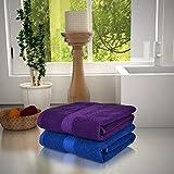 #6: Magna 450GSM Premium Cotton Set of 2 Large Bath Towels-PURPLE & BLUE