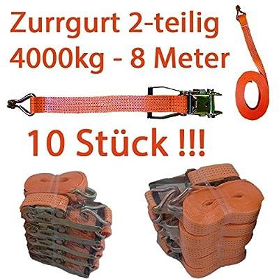 ** 10 STÜCK ** Zurrgurt 50 MM, 2tlg.., 2000/4000 kg, mit Spitzhaken 8 Meter aus PES, Zugkraft 2000/4000 daN, Farbe: orange oder rot