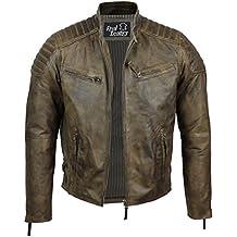Veste en cuir souple véritable marron délavé (Antique Washed Brown) rétro pour  homme 6ca96c88834