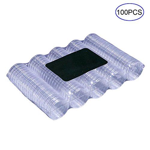 Veryeah 100 stücke Klar 27mm Runde Münzbox Halter Kunststoff Speicher Display Organizer Fällen (Speicher Display Case Box)